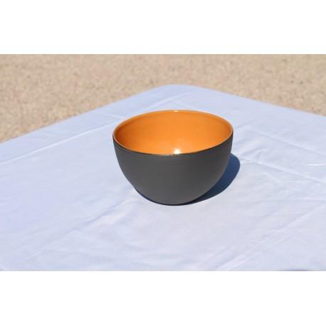Bol en grès - noir et orange
