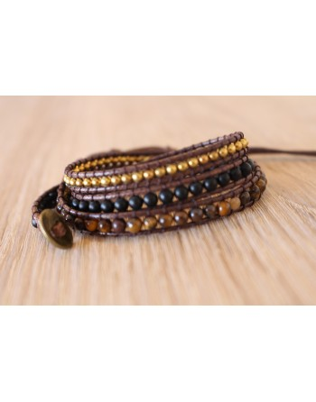 Bracelet confiance en soi en oeil de tigre - Onyx noir