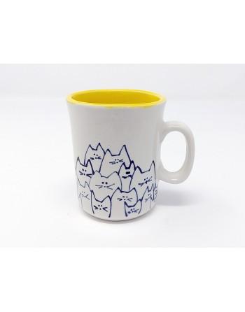 Tasse chat avec anse - jaune