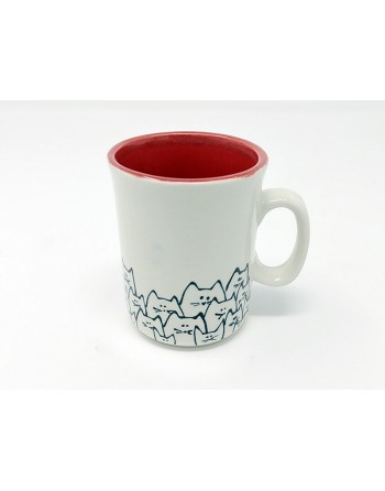 Tasse chat avec anse - rouge