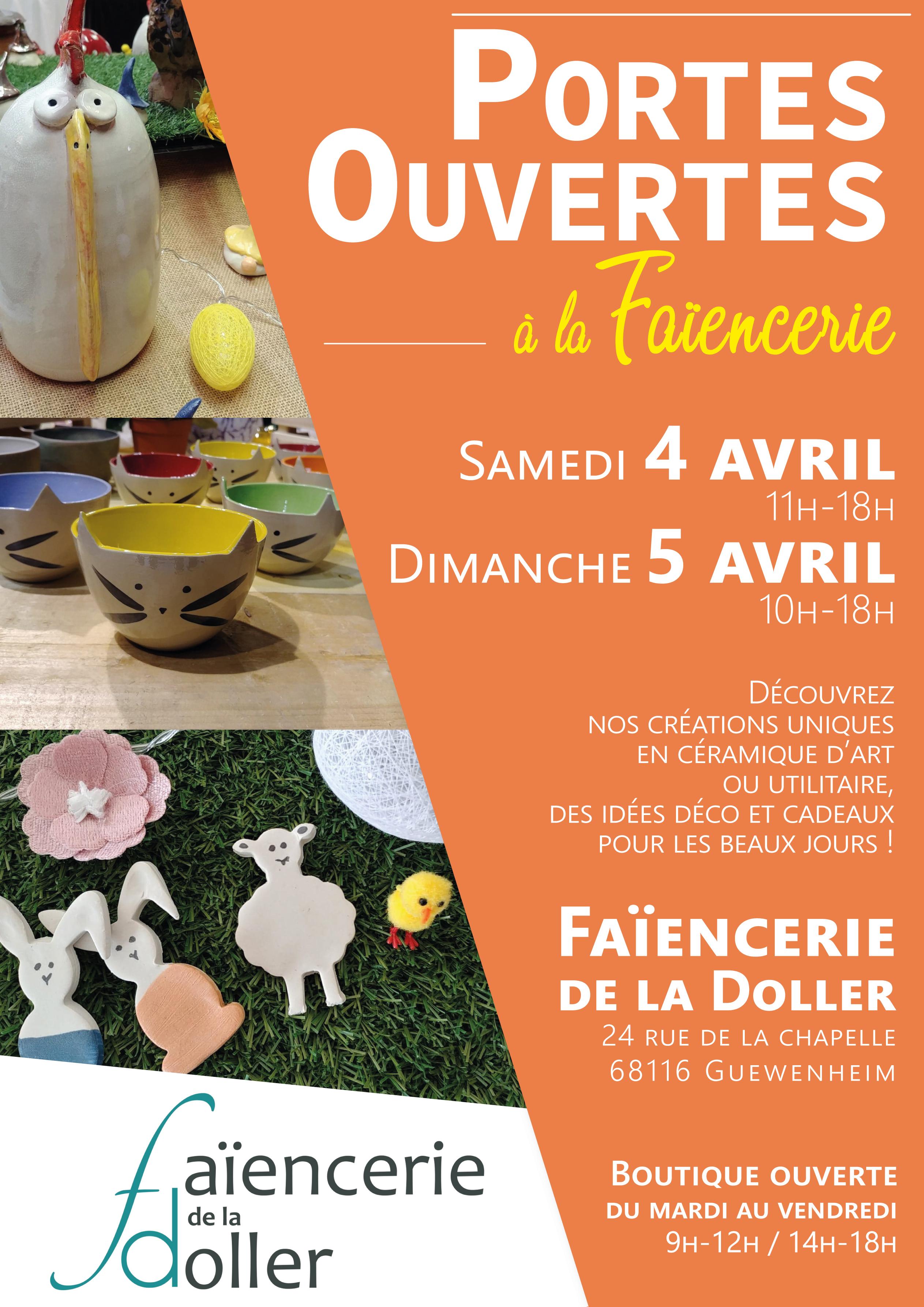 Portes ouvertes les 4 et 5 avril à la Faïencerie de la Doller